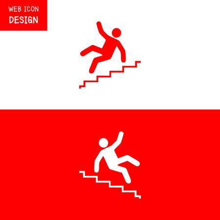 벡터 미 끄 러운 계단 경고 기호 그림 흰색 배경에 어떤 대단한 사용에 격리.