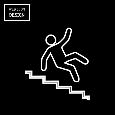 slip hazard: Vector Slippery stairs warning sign illustration isolated on black background great for any use.