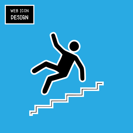 slip hazard: Vector Slippery stairs warning sign illustration isolated on blue background great for any use. Illustration