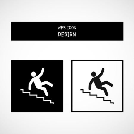 slip hazard: Vector Slippery stairs warning sign illustration isolated on white background great for any use.