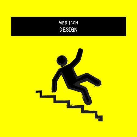 vector slippery stairs warning sign illustration isolated on