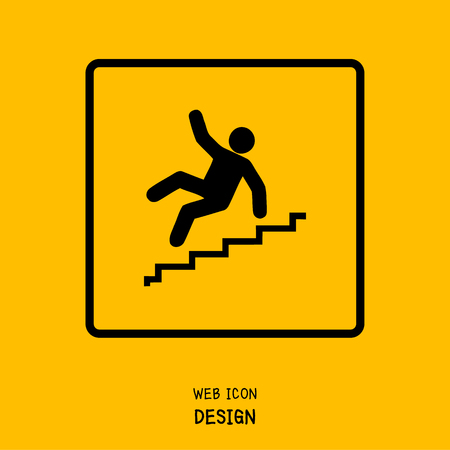 tricky: Vector Slippery stairs warning sign illustration isolated on yellow background great for any use.