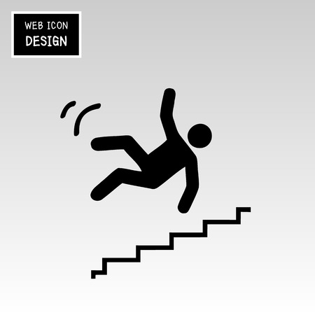 slippery warning sign: Vector Slippery stairs warning sign illustration isolated on white background great for any use.