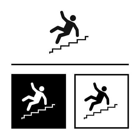 stumble: Vector Slippery stairs warning sign illustration isolated on white background great for any use.