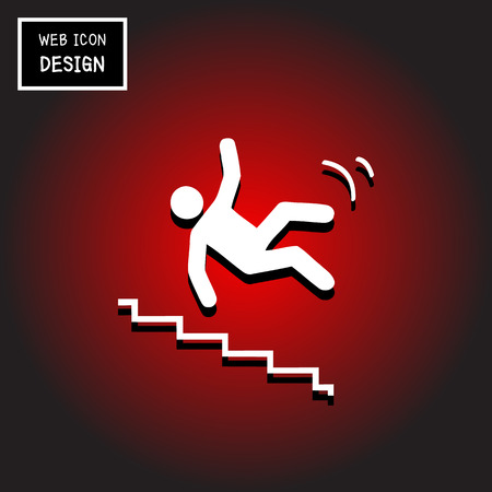 stumbling: Vector Slippery stairs warning sign illustration isolated on black background great for any use.