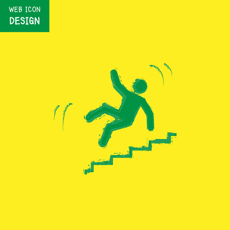 stumbling: Vector Slippery stairs warning sign illustration isolated on yellow background great for any use.