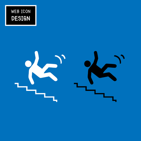 tricky: Vector Slippery stairs warning sign illustration isolated on blue background great for any use. Illustration