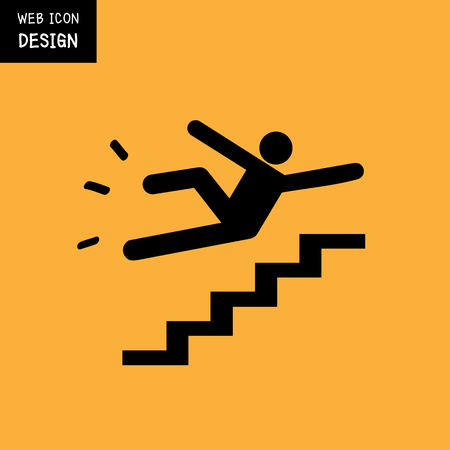 slip hazard: Vector Slippery stairs warning sign illustration isolated on yellow background great for any use.
