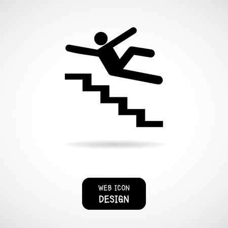 Vector Slippery stairs warning sign illustration isolated on white background great for any use.