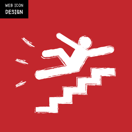 Vector Slippery stairs warning sign illustration isolated on red background great for any use.