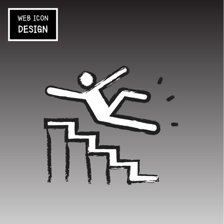 slippery warning sign: Vector Slippery stairs warning sign illustration isolated on gray background great for any use.