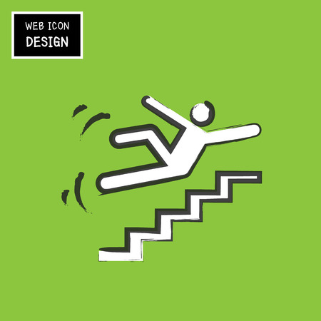 slippery warning sign: Vector Slippery stairs warning sign illustration isolated on green background great for any use.
