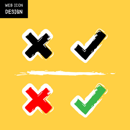 removing: Vector approved and rejected symbol on yellow background