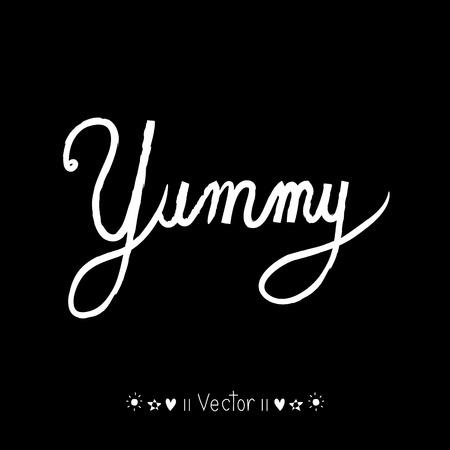 writting: Yummy! doodle style vector design element, Illustration EPS10 great for any use. Illustration