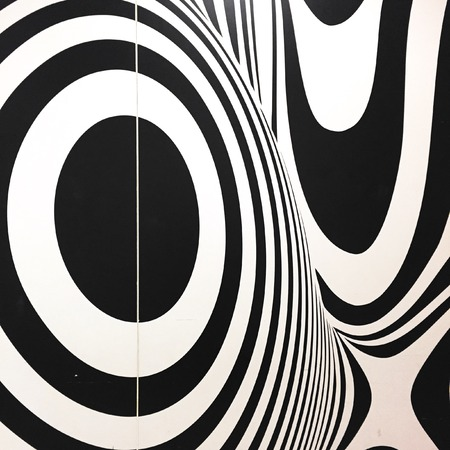 seventies: Black and white seventies inspired psychedelic retro pattern great for any use. Stock Photo