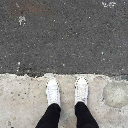 Foot and legs seen from above. Selfie great for any use. Stock Photo