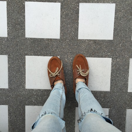 Selfie Of Shoes With Doormat Great For Any Use. Stock Photo