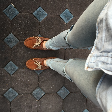 jackboot: Selfie Of Shoes With Doormat Great For Any Use. Stock Photo