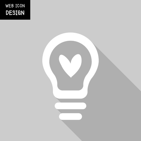 idea icon: Heart Shape In A Light Bulb. Abstract Icon Great For Any Use. Illustration