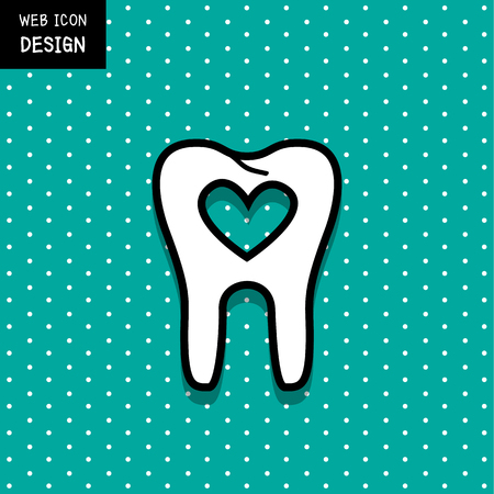 dirty teeth: Tooth with heart inside icon and symbol great for any use.