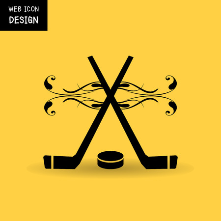 pack ice: Vector Crossed Hockey Sticks and Puck Icon. Illustration Great For Any Use.