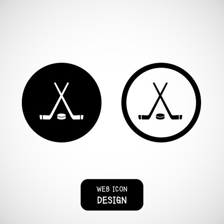 the end of the world: Vector Crossed Hockey Sticks and Puck Icon. Illustration Great For Any Use.