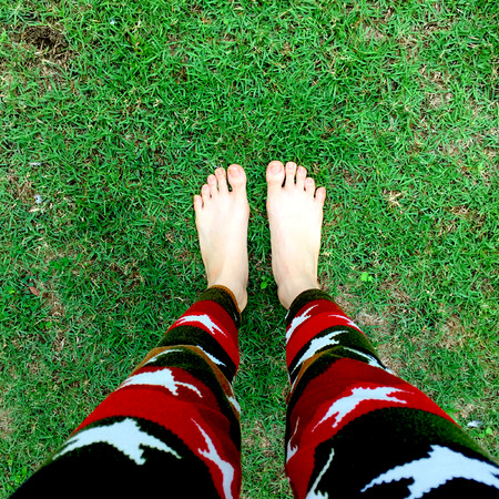 legging: Woman feet closeup of girl relaxing on grass. top view great for any use.