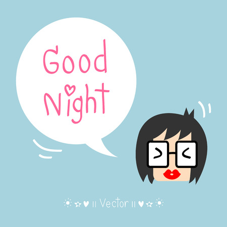 good cheer: Cartoon character - good night greeting Great For Any Use.