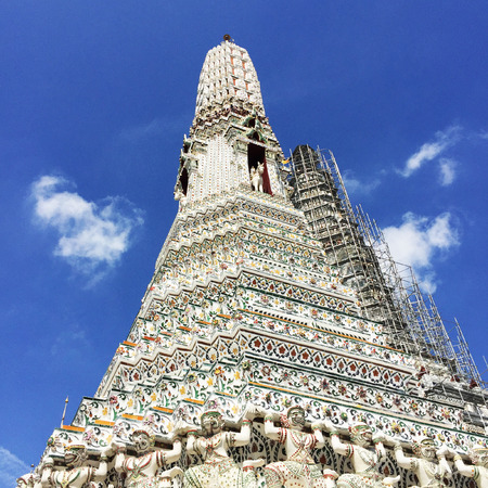 wat arun: Steep Stairways to the Top of  White pagoda in Wat Arun, Bangkok, Thailand Great For Any Use. Stock Photo