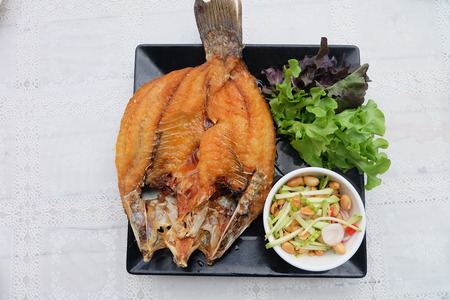 Fired Fish With Fishsauce Delicious Thai Food (Snapper topped with sauce) Great For Any Use.