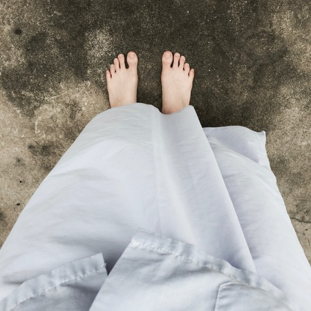 buddhist meditation: Woman Buddhist Walking on Street or Ground for Relaxation and Meditation Great For Any Use.