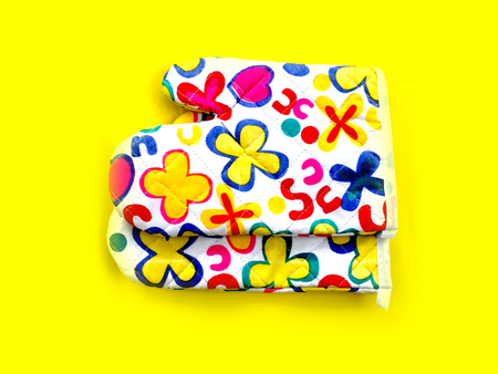 to maintain: Colourful Flower Kitchen Oven Glove on Yellow Background Great For Any Use.