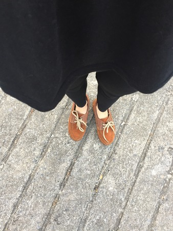 shoelace: Close Up of Female Brown Shoes. Outdoor Fashion Shoes Footwear Concept Great For Any Use.