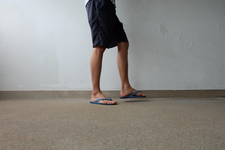 327e6eaa9e1 Male Feet Selfie Wearing Sandals Standing on Concrete Floor Great For Any  Use.