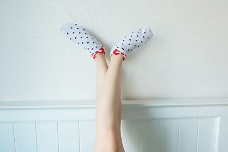 Polka Sock. Selfie Legs and Feet Wear White Socks with Polka Dot Background Great For Any Use.