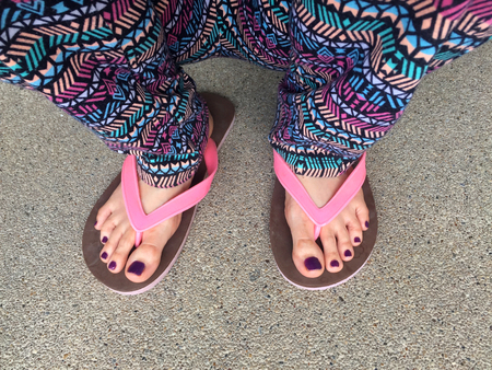 Sandal, Close Up on Girls Violet Nail and Feet Wearing Pink Sandals on the Street Background Great For A