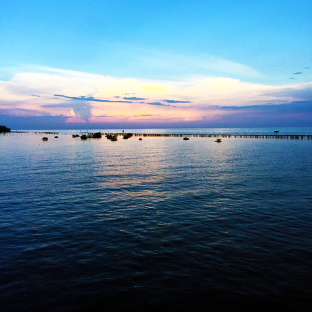 Lake and Blue Sky Nature. Beautiful Landscape on the River with Sky Clouds of Thailand Background