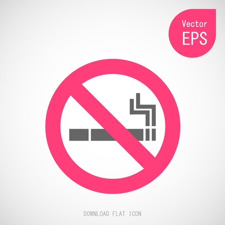 Vector No Smoking Prohibiting Sign. Flat Vector Illustration on Gray Background Great for Any Use.
