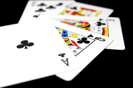 Playing Card Isolated. Five Playing Cards of Black Symbol for Poker on Black Background Great for Any Use.