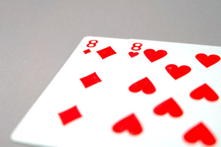 Eight Heart Playing Cards. Red Spades Playing Card 8 Game Isolated On Gray Background Great for Any Use.