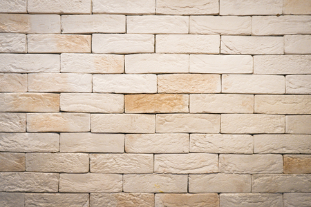 Brick Wall Panoramic Texture Grunge in Rural Room. Abstract Old Light Beige Brickwork of Stonework. Vintage Brown Brick Wall Background, Backdrop and Pattern with Copy Space for Design Concept.