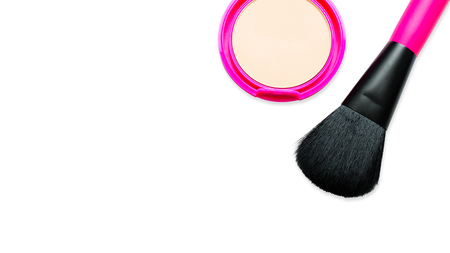 Powder Brush and Pressed Powder in Pink Pastel Case Isolated on white Background  . Cosmetics Beige Round. Face Cosmetic Compact and Powder Foundation with Brush for Make Up, Top View
