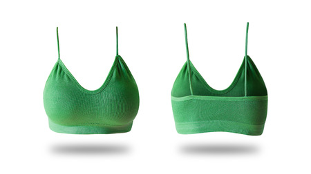 Sport Bra Isolated on white Background  Top View. Beautiful Women is Green Sports Clothes (Underclothes) Object. Sexy Fabric Brassiere Accessories, Summer and Fashion Concept.
