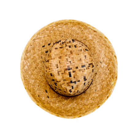 Straw Hat for Man Isolated on white Background with Clipping Path. Beautiful Top View Brown Summer Hat for People. Vintage Beach Cap Object with High Angle View, Trendy Fashion Clothes Concept.