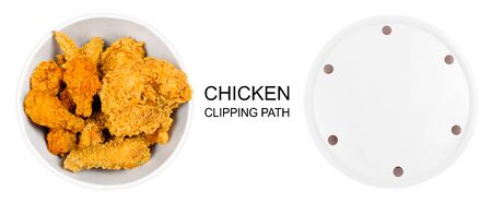 Fried Chicken Wings and Legs in White Bucket Box Isolated. Golden Brown Food. Top View of Bucket Full Hot and Crispy Spicy Breaded Chicken on White Background with Clipping Path. Fast Food Concept.
