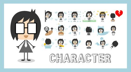 Character flat faces concept. Set of emotion cute man wearing suit. Guy facial different expressions. Vector Illustration in cartoon style design. Collection of everyday life or daily routine. Standard-Bild - 133542567