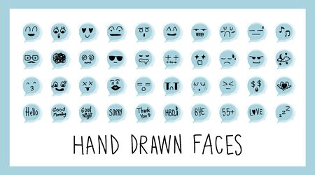 Hand draw face emoji with different emotions icon isolated on white background. Character creative vector illustration. Set of doodle cute cartoon feelings with art blue speech bubble.