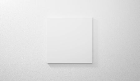 Blank bright gallery template on white wall texture in room. 3d render interior. Empty clean picture on grey concrete background for mockup poster, exhibition, banner and advertising. Modern design.