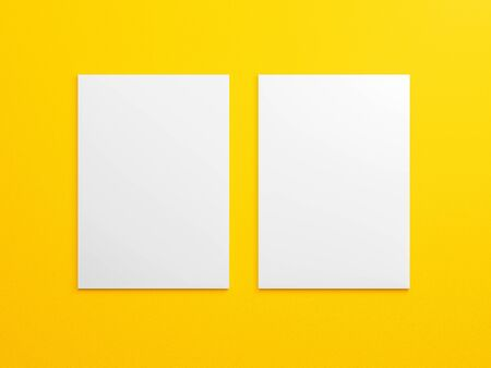 Blank A4 brouchure mock up on bright yellow background texture. Empty realistic white two vertical paper sheet template with shadow for mockup, letterhead and presentation design. 3d rendering orange. Zdjęcie Seryjne - 136795146