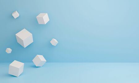 Abstract 3d white cube boxes on blue texture with geometric shapes podium. Art 3d cubes background for display product, presentation and banner on website. Empty showcase for advertising. Minimal. Stock fotó